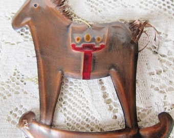 Vintage 1975 Copper Rocking Horse, Christmas Ornament