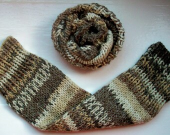 Chunky warm leg warmers, multi striped Fair Isle effect, beige, knit wool cotton mix