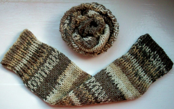 Chunky warm leg warmers multi striped Fair Isle effect