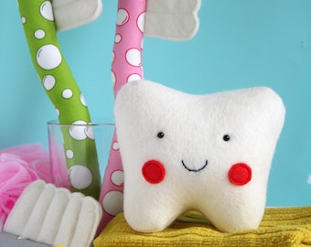 Pearly Whites: toothbrush pattern, tooth sewing pattern, felt tooth pattern, toothbrush PDF, tooth PDF, tooth plush, tooth toy