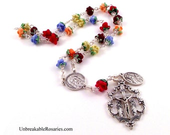 St Therese The Little Flower Relic Medal Rosary Chaplet in Lampwork Rose Beads by Unbreakable Rosaries
