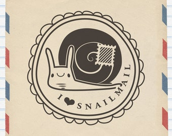 Rubber Stamp - I Love Snailmail