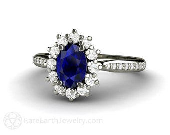 Blue Sapphire Engagement Ring Sapphire Ring Oval Cluster Diamond Halo 14K or 18K Gold Custom Wedding Ring