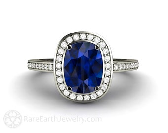 Blue Sapphire Engagement Ring Cushion Sapphire Ring Diamond Halo 14K or 18K Gold Platinum