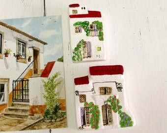 Vintage Portuguese country houses wall decor set