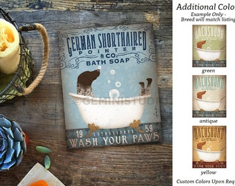 GSP German Shorthaired Pointer dog bath soap Company artwork on gallery wrapped canvas by Stephen Fowler