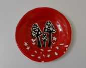 WINTER SALE Red Mushroom Toadstool Plate
