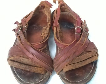Rare Vintage Huaraches , Mexican Leather Sandals, CLASSIC and true vintage, Hard to FIND, sz 7.5 Ladies