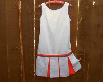 60s vintage Scooter Dress White pique Skort dress Sleeveless polka dots RWB dress M