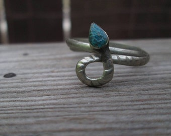 Vintage Snake Ring Turquoise silver Ring vintage 70s silver ring Mexico silver jewelry adjustable ring jewelry