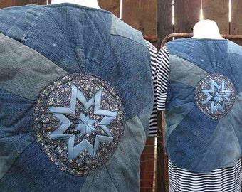 Big E Denim Levis 70s vintage denim Vest blue jeans denim Patchwork Handmade Vintage Blue Denim Vest  S M