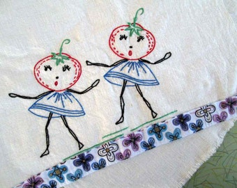 Dancing Tomatoes dish towel Home decor Gift Embroidery dishrag Red tomato 50s vintage Kitchen decor towel Blue floral dish towel