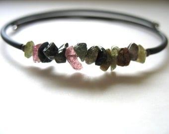 Tourmaline Bracelet, Tourmaline Stone Bracelet Jewelry, Handmade Gemstone Cuff Bracelet, Made in the USA