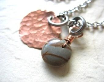 Jasper, Jasper Necklace, Jasper Copper Necklace, Jasper Stone  Hammered Copper Necklace, Jasper Jewelry, Copper Necklace, Charm Necklace