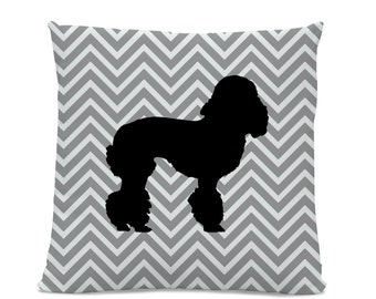 Chevron Poodle Pillow - Poodle Silhouette Pillow - Gray Chevron Pillow - dog breed pillow - Poodle Decor - Dog Pillow