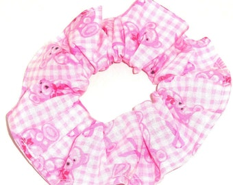 Breast Cancer Awareness Pink Ribbon Fabric Hair Scrunchie Cotton Flannel Scrunchies by Sherry Ponytail Holders