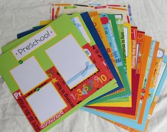15 SCHOOL DAYS premade Scrapbook Pages for 12x12 album ~ Preschool - 5th Grade
