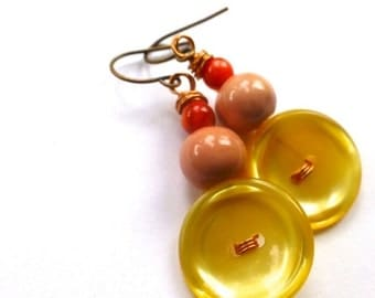 ON SALE Mustard Yellow with Peach Button Earrings