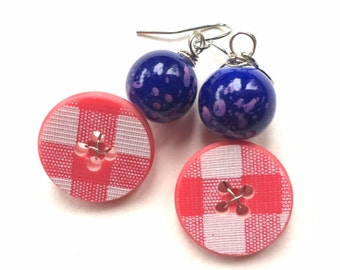 Funky Button Earrings Bright Red and White Plaid Vintage Buttons with Blue speckled beads
