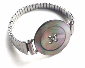 Vintage Button Bracelet with mother of pearl button and repurposed metal watch band