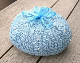 Blue Pincushion, Baby Blue Crochet Yarn, Blue Ribbon, Fiberfill, Vintage Collectible Sewing, Hand Crochet