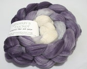 hand-dyed fiber - Double Merino/Silk Fiber - Dark Plum _BRAIDIENT_ colorway (dyelot 42616)