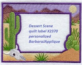 Quilt Label Desert Scene machine embroidered personalized