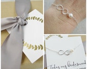 Bridesmaid infinity bracelet, freshwater pearl bracelet, bridesmaid bracelet, thank you message card, forever my friend, BFF bridesmaid gift