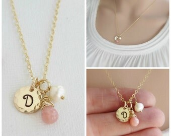 October birthstone necklace, personalized gold initial necklace, pink opal necklace, Mothers necklace custom gold necklace, freshwater pearl