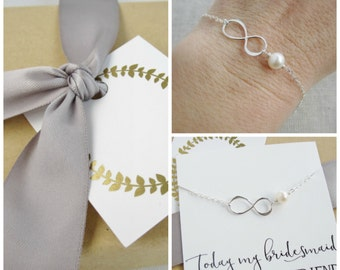 Infinity and freshwater pearl bracelet for bridesmaids, sterling silver or 14K gold filled, will you be my bridesmaid