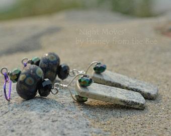 Raku Lampwork Sapling Jasper Earrings - Night Moves - Boho Glamour earrings