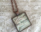 San Antonio, Texas Map Pendant~Cowgirl Necklace~Vintage Map Jewelry~Wearable Keepsake, Souvenir Destination Travelers Gift~Moving Gift