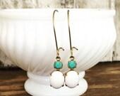 White & Aqua Dangle Earrings~Vintage Inspired Pierced Earrings~Vintage Glam Feminine Jewelry~Gift for Fashionable Friend~