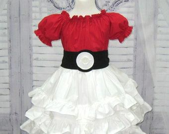 Red and White Ruffle Dress, Red Pokemon Ball Inspired Ruffle Dress, Black and White Girl Dress, Little Girl Dress, Toddler Dress, Red Dress