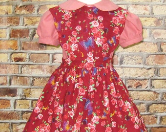 Vintage Style Red Pinafore, Red and Pink Girl Dress, Baby Pinafore, Birthday Party Dress, Tea party Dress, Little Girl Dress, Floral Dress