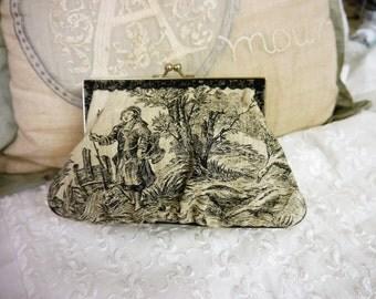 Clutch or Handbag -  Toile de Jouy - French Rural Scene