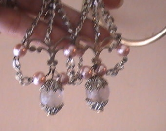 Amyethist and glass Pearl Chandelier Ear Rings