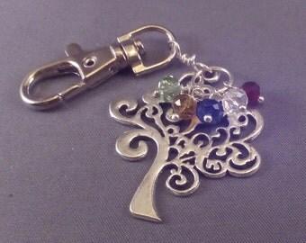 Mothers Custom Birthstone Key Chain Charm Ln186, Tree of Life, Family Children Grandma, Birthstone Color Choice, Swarovski Crystals, by Lynn