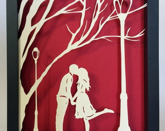 Sale 20% Off // AUTUMN KISS Papercut in Shadow Box - Hand-Cut Silhouette, Framed // Coupon Code SALE20
