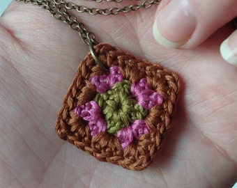 Tiny Little Crochet Granny Square Necklace Brown/Fuchsia/Olive Lightweight Soft