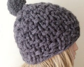 """Hand Knitted Hat, Slouchy Hat, Beanie with Pompom,Boho """"Chunky """", Winter Fashion, Winter Accesories"""