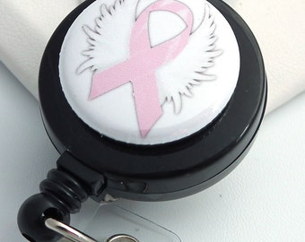 Breast Cancer Awareness Pink Ribbon with Wings ID Badge Holder on Black Badge Reel - Magnetic or Clip On Style