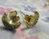 Dainty Gold Tone Rhinestone Half Moon Stud Earrings