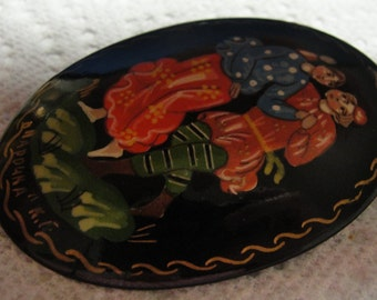 Russian Oval Lacquered Dancing Couple Brooch  reduced