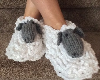 Animal Slippers Sheep Slippers Adult Slippers Lamb Slippers Knitted Slippers