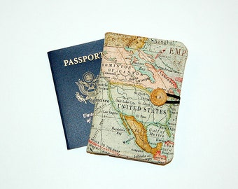 Passport Cover Wallet Travel Organizer - World Map Expedition (United States)