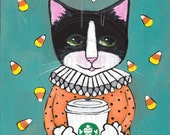 Clown Cat with Coffee Original Halloween Cat Folk Art Painting