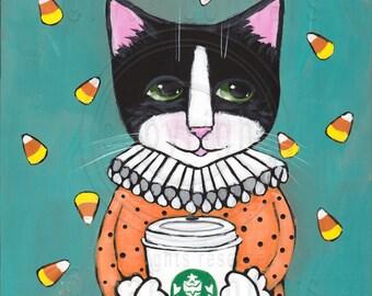 Clown Cat with Coffee Original Halloween Cat Folk Art Painting