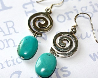 Turquoise and Sterling Silver Swirl Earrings, Turquoise  and Silver Handmade Jewelry
