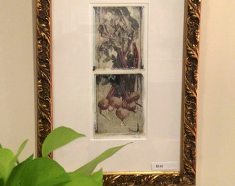 Polaroid transfer diptych - Beets framed in a recycled gilded frame